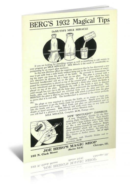 Berg's 1932 Magical Tips by Joe Berg PDF
